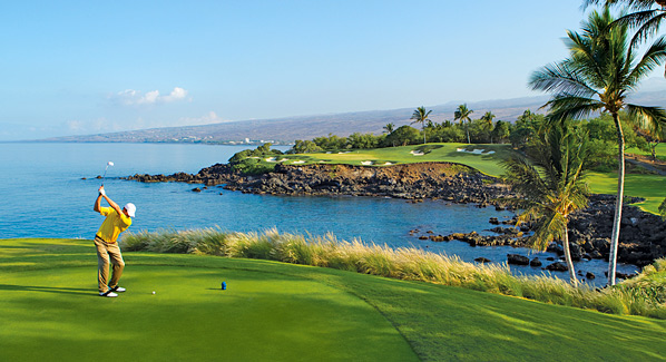 Man golfing on Hawaii island