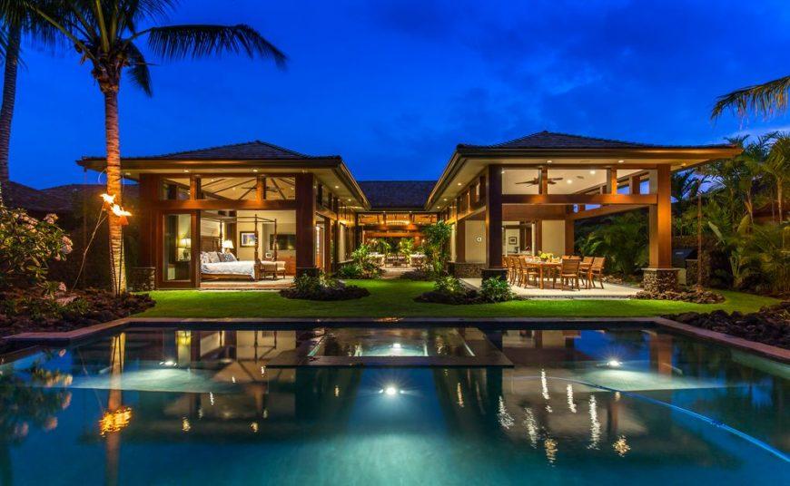 Hualalai 72-121 - Stunning Pool and back of home at dusk - Hawaii Vacation Home