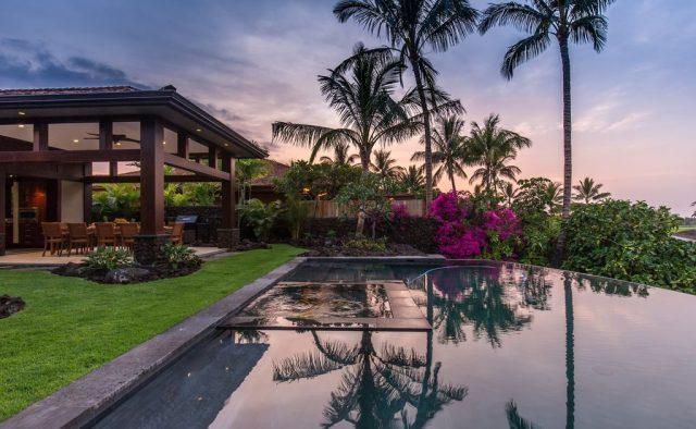 Hualalai 72-121 - Pool at dusk - Hawaii Vacation Home