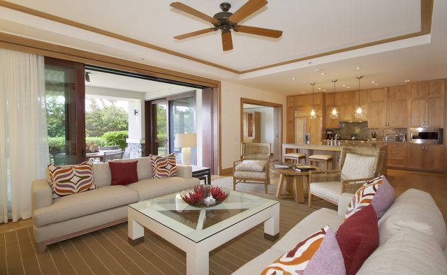 Aqua Surf at Montage - Living area with view of patio - Maui Vacation Home