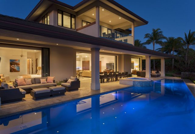 Beach Elegance - Back Patio at night - Hawaii Vacation Home