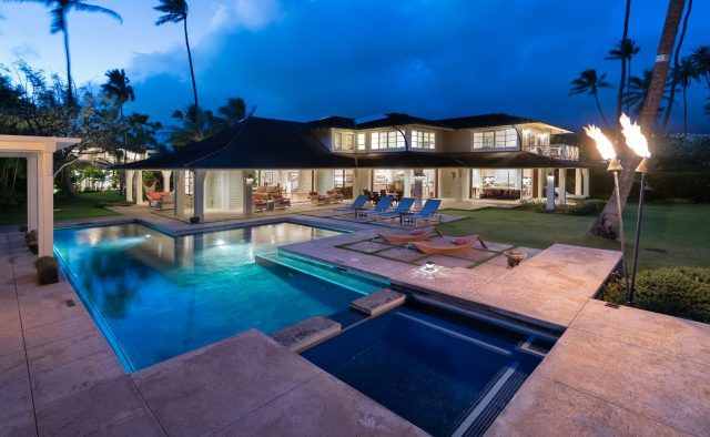 Coral Reef - Back of house with Pool at night - Oahu Vacation Home