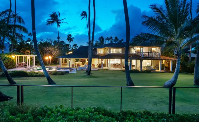 Coral Reef - backyard at dusk - Oahu Vacation Home
