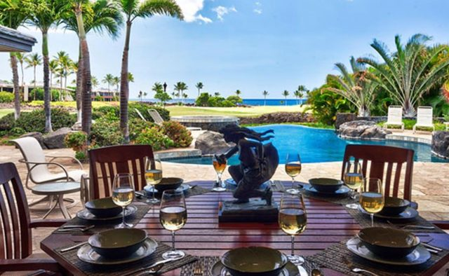 Cape Palm - Patio area with dining area and pool - Waimea, Hawaii Vacation Home