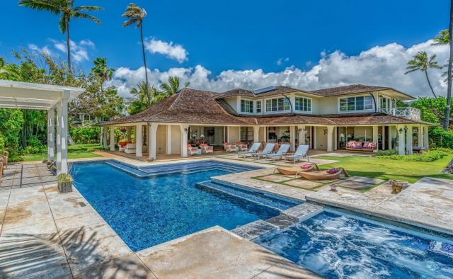 Coral Reef - Back of home with pool - Oahu Vacation Home