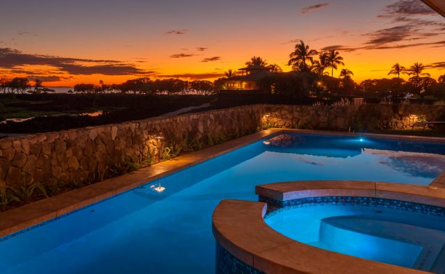 Beach Elegance - Pool at sunset - Hawaii Vacation Home