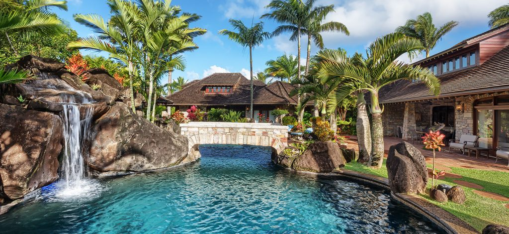 Enchanting Meadow - Pool with waterfall - Hawaii Vacation Home