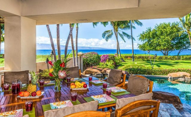 Golden Sands - Dining area on patio at daytime - Maui Vacation Home