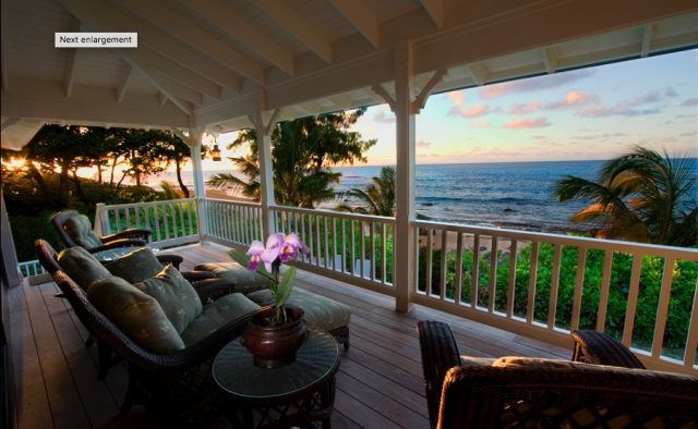 Beach Terrace - Back Porch at sunset - Hawaii Vacation Home