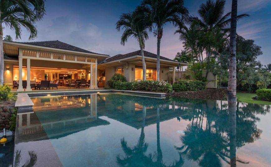 Hualalai Hainoa Estate 128 - Pool at Dusk - Hawaii Vacation Home