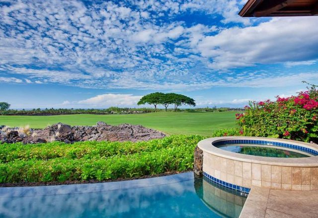 Hualalai Pakui - Pool and view of golf course- Hawaii Vacation Home