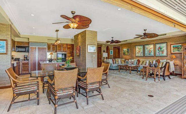 Hualalai Resort Hillside 4102 - Living Area and Dining Area - Hawaii Vacation Home