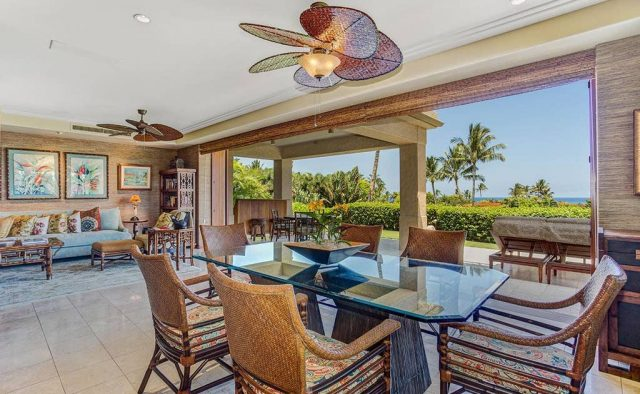 Hualalai Resort Hillside 4102 - Dining area with ocean view - Hawaii Vacation Home