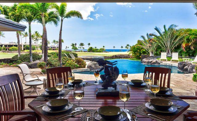 Cape Palm - Back Patio dining area and pool - Waimea, Hawaii Vacation Home