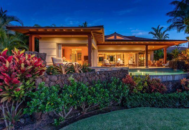 Maluhia Hale - Back of house lit up - Hawaii Vacation Home
