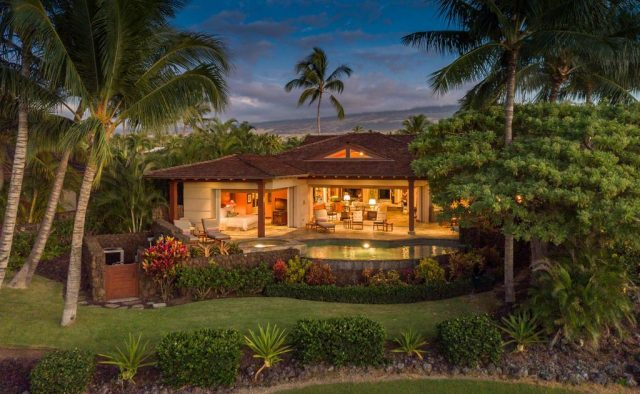 Maluhia Hale - Rear of home at dusk - Hawaii Vacation Home
