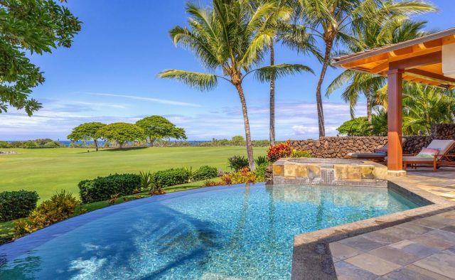 Maluhia Hale - Pool and Patio looking out - Hawaii Vacation Home