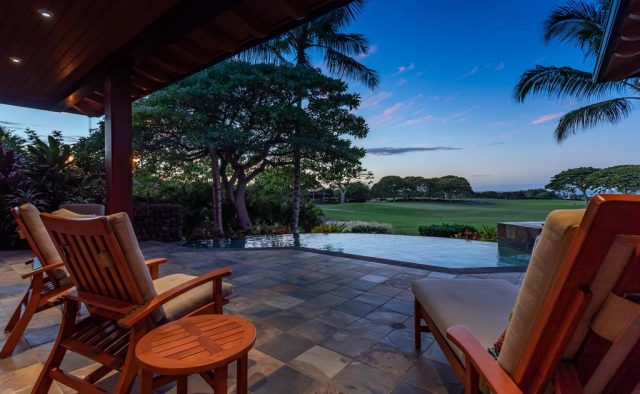 Maluhia Hale - Patio at dusk - Hawaii Vacation Home