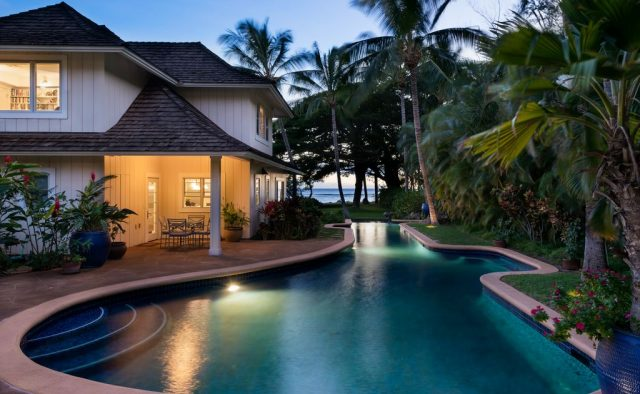 Hidden Tranquility - Pool at dusk - Maui Vacation Home