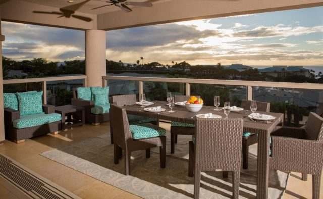Opalite - Dining area on balcony with view - Maui Vacation Home