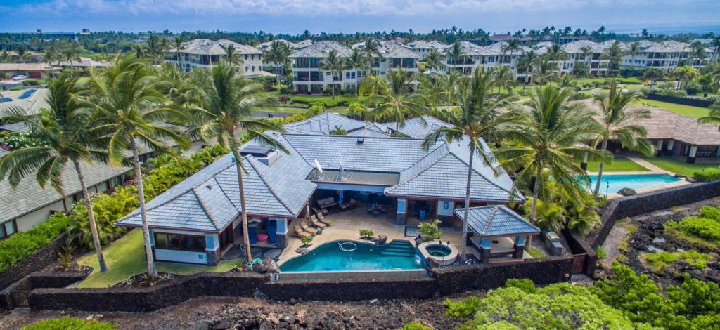 Cobalt Sky - Aerial Shot of rear of home - Hawaii Vacation Home