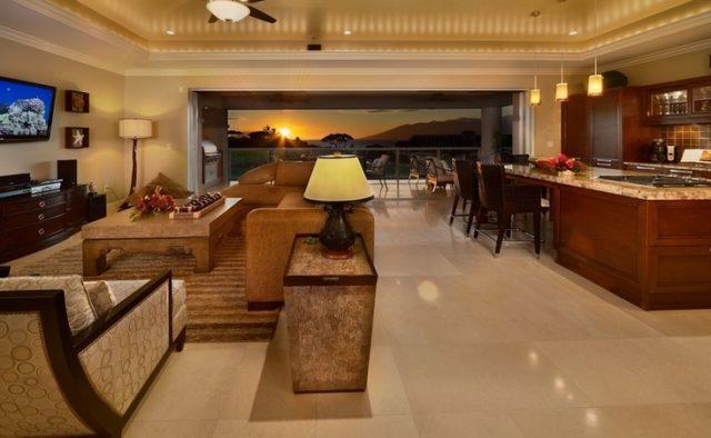 Aqualite - Living area at dusk - Maui Vacation Home