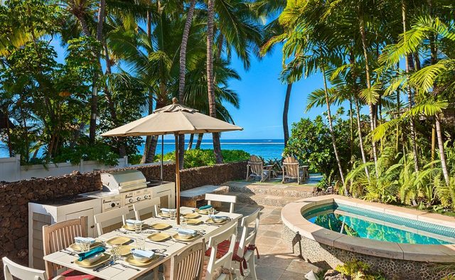 Beach Treasure - Back Patio with seating and hot tub - Hawaii Vacation Homes