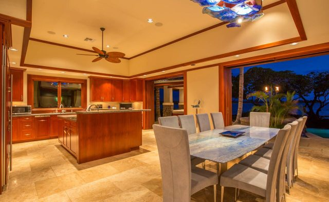 Cobalt Sky - Dining area at night - Hawaii Vacation Home