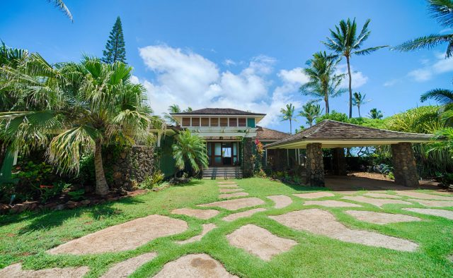 Beachscape - Front of home with driveway - Kauai Vacation Home
