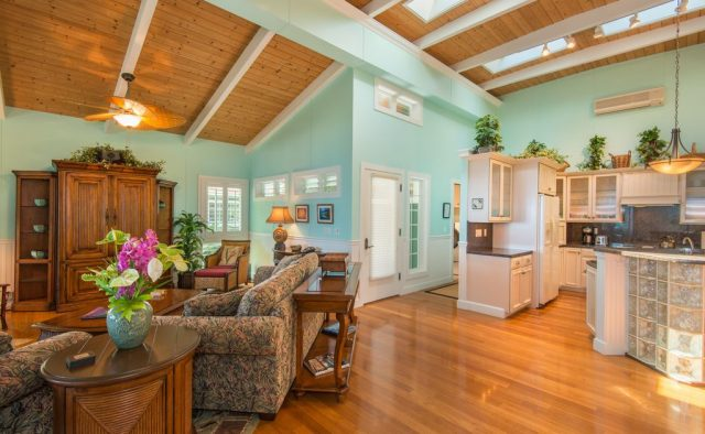 Healing Waters - Living area and kitchen - Kauai Vacation Home
