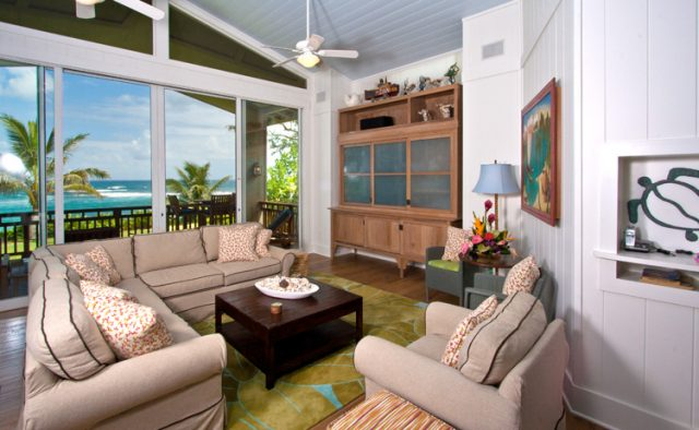 Hidden Passion - Living area with view of the beach - Kauai Vacation Home