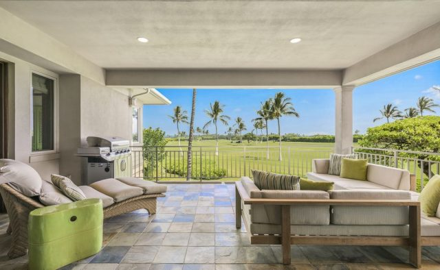 Hualalai Resort Fairway Villa 116D - Patio with view of golf course - Hawaii Vacation Home