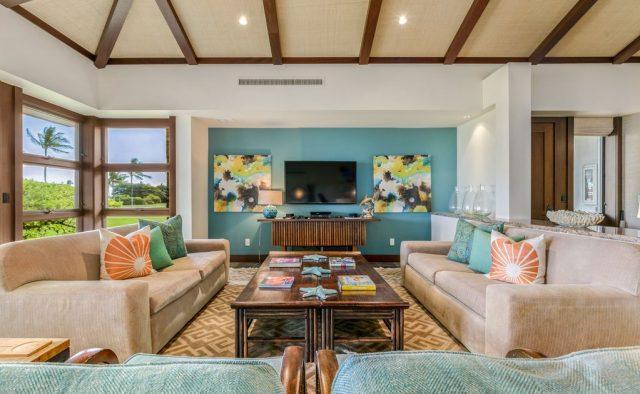 Hualalai Resort Fairway Villa 116D - Living area - Hawaii Vacation Home