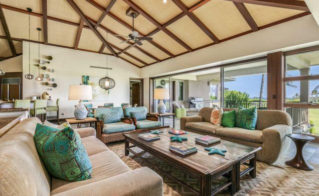 Hualalai Resort Fairway Villa 116D - Living area and large windows - Hawaii Vacation Home
