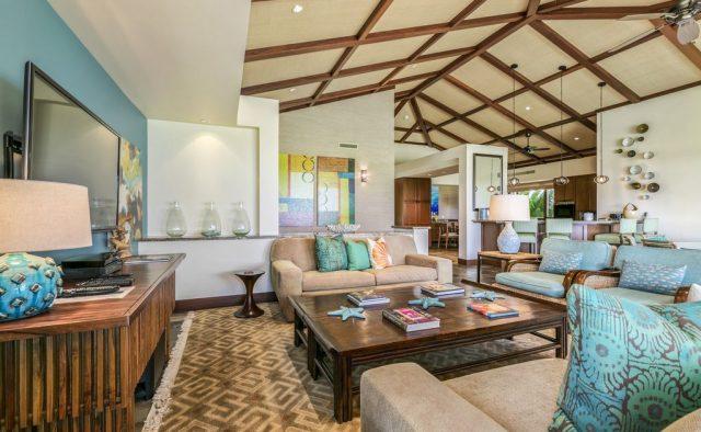Hualalai Resort Fairway Villa 116D - Living area with TV - Hawaii Vacation Home