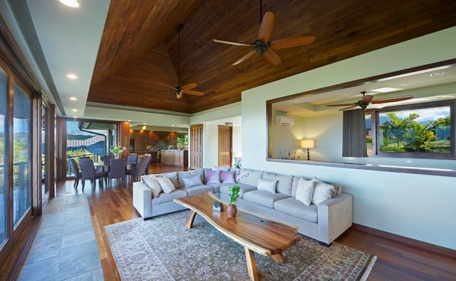 Lavishly Teak - Couch in resting area - Kauai Vacation Home
