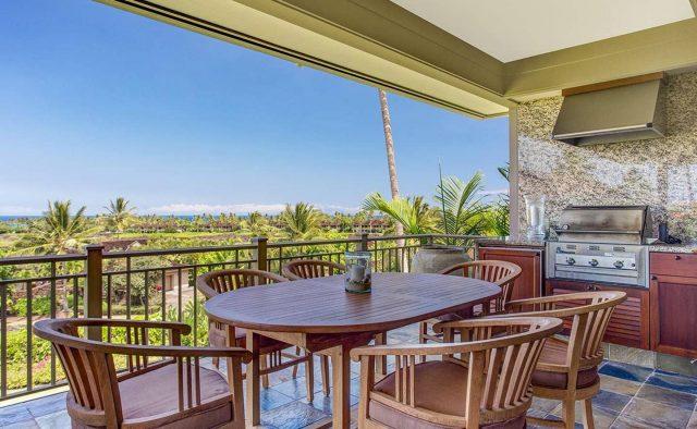 Ke Alaula 210A - Balcony Dining area with grill - Hawaii Vacation Home