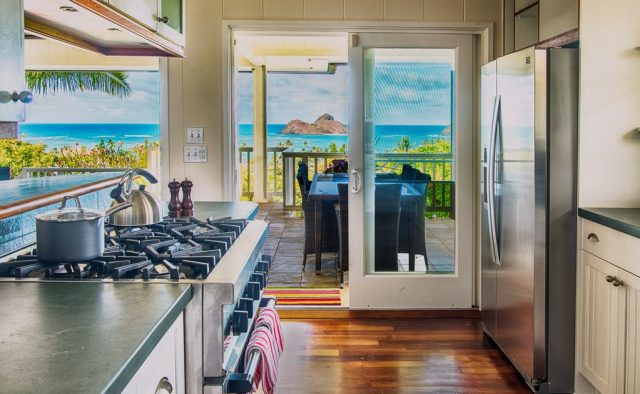 Kehaulani - Kitchen and balcony access - Oahu Vacation Home