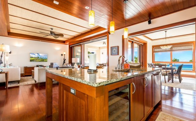 Ocean Breeze at Montage - Kitchen with Wine Refrigerator - Maui Vacation Home