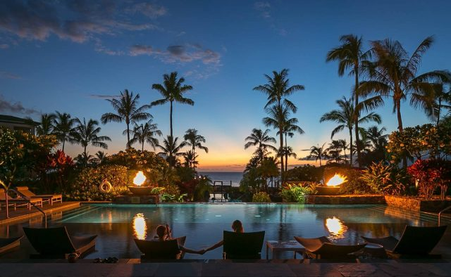 Ocean Breeze at Montage - Community Pool at sunset - Maui Vacation Home