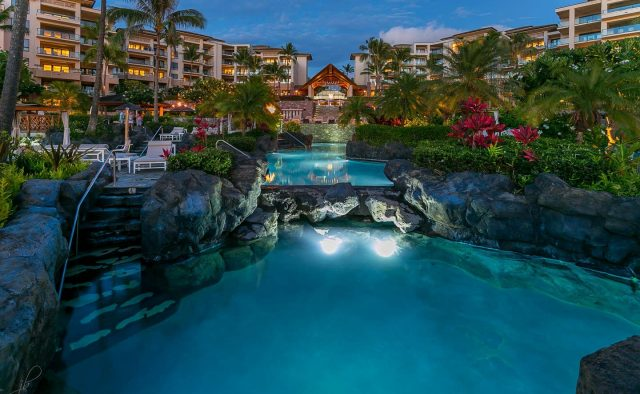 Ocean Breeze at Montage - Community Pool water feature - Maui Vacation Home